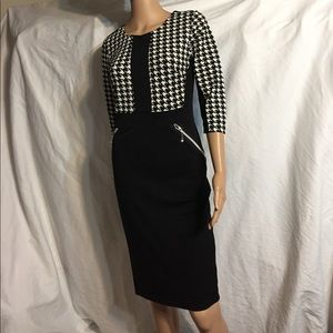 MIUSOL Knit Fitted HoundsTooth plaid & Black Dress